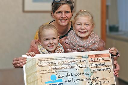 Het WARMSTE marktkraampje van Mien en Julie goed voor 1700 euro